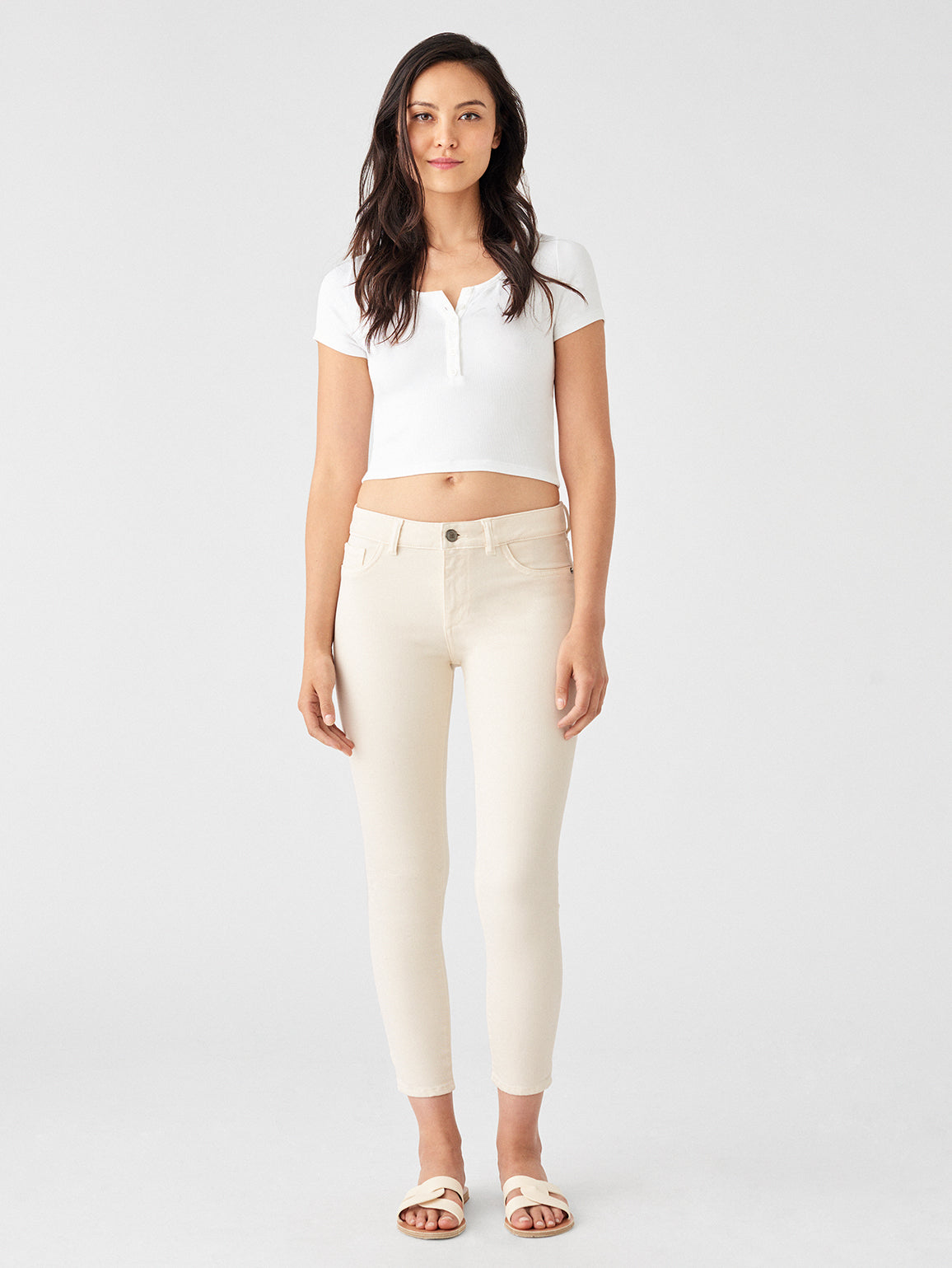 Florence Crop Mid Rise Skinny | Ivory