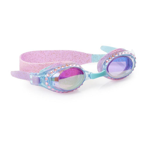 blue lavender goggles with gold sparkles