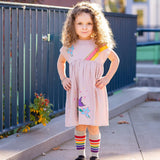 Pink short sleeve dress with embroidered flowers and rainbows for girls