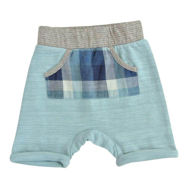 Light blue boys shorts with blue plaid front pocket | Cool Clothes for Boys