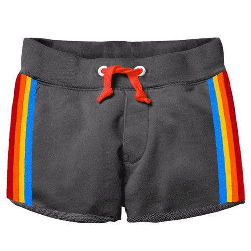 Grey girls track shorts with rainbow stripe sides