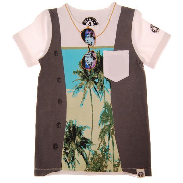 Palm tree print tee with a faux vest and sunglasses graphic | Boys Trendy Clothes