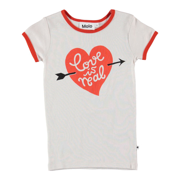 Molo kids short sleeve love is real girls t shirt