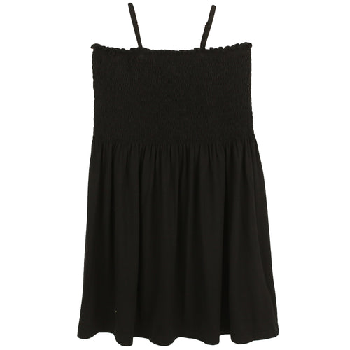 Black babydoll dress for tweens with spaghetti straps
