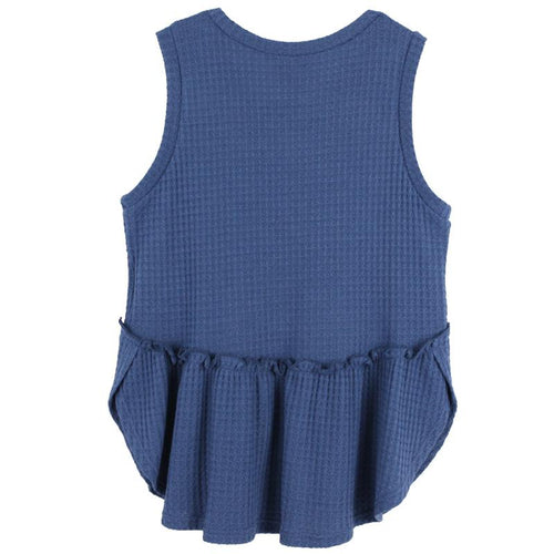 Tween girl tank top in dark blue with ruffle waist