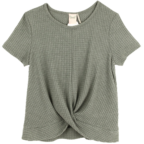 Grey short sleeve tween tee with twist bottom