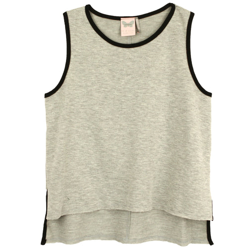 Grey tween tank top with black trim