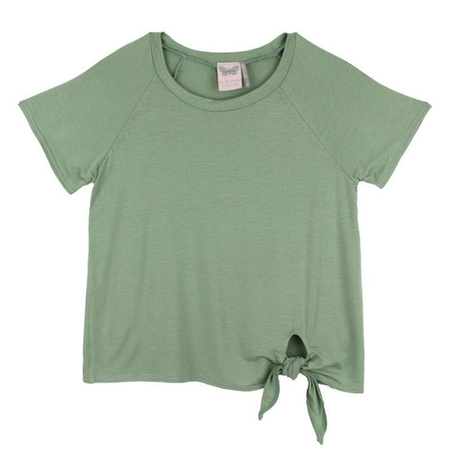 Sage green short sleeve tween girl top with side tie