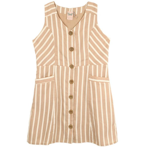 Mauve striped sleeveless tween girl dress with button front