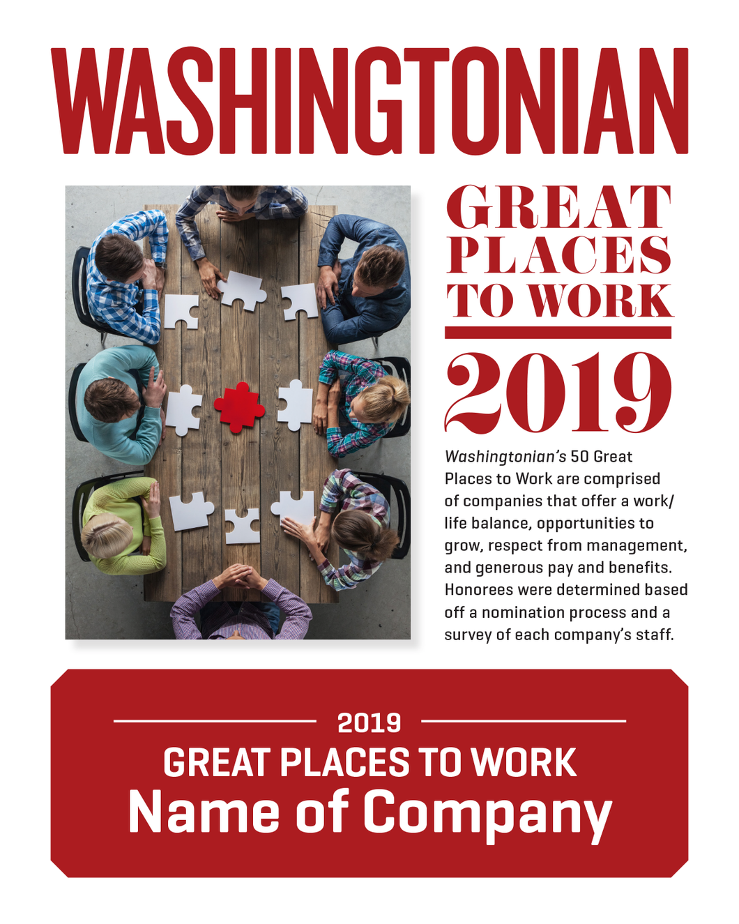 Washingtonian Great Places to Work Plaque