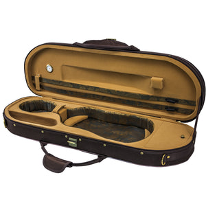 Sky Violin Halfmoon Case HM02 Lightweight with Hygrometer Coffee/Khaki