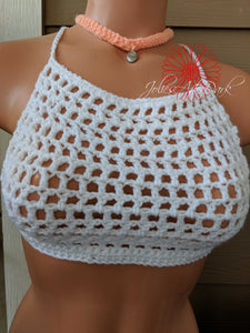 Beach top, crochet top, honeymoon, wedding anniversary gift,
