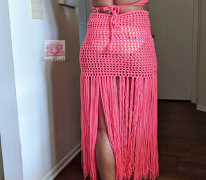 Highwaisted skirt flamingo fringe crochet skirt,  fringe skirt  skirt, Beach cover skirt,Swimsuit cover crochet cover,bikini cover