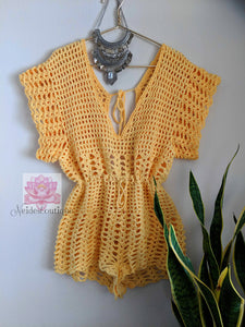 Crochet jumpsuit, beach cover jumpsuit, yellow jumper
