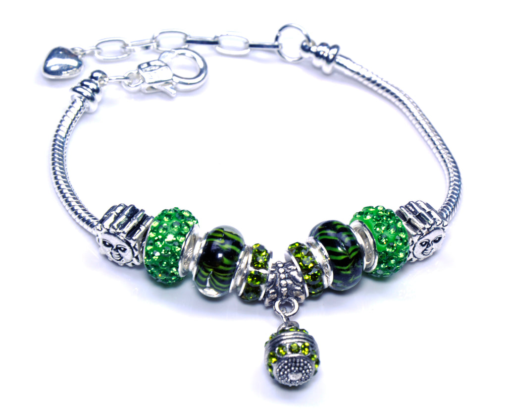 Italian Sterling Silver Murano Glass Charms with Bracelet (Pandora Style) - Green
