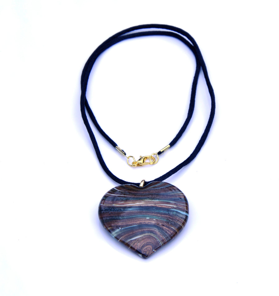 MURANO GLASS HEART PENDANT - BROWN