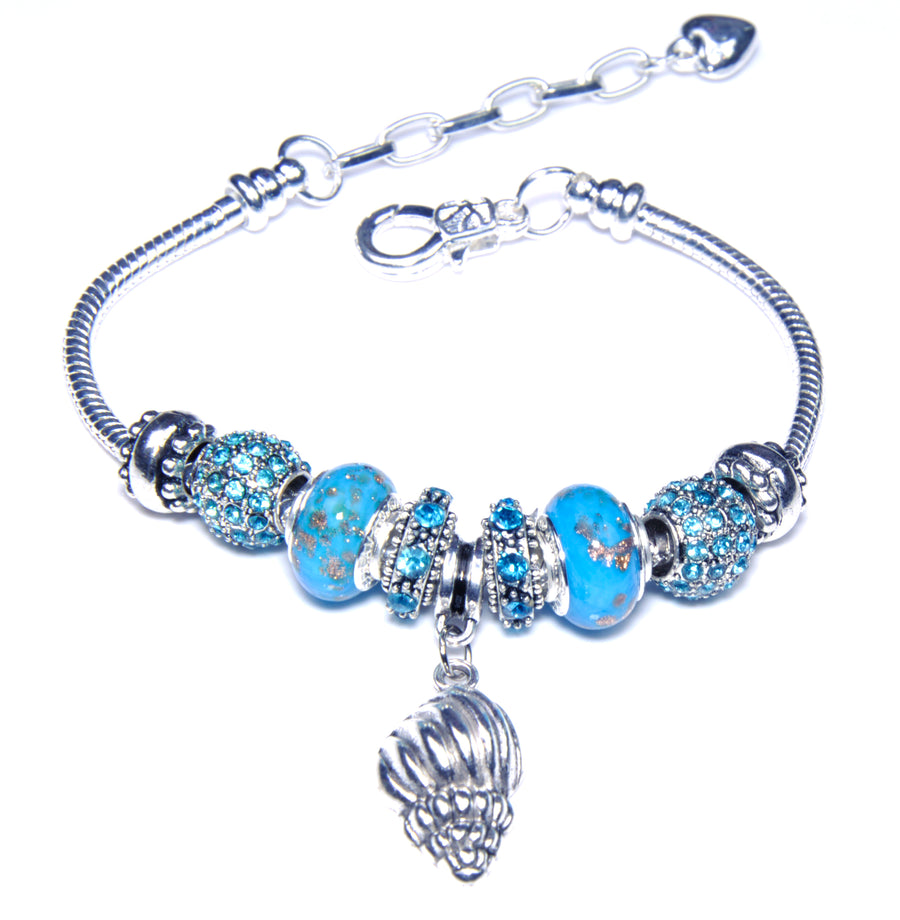 Pandora Style Sterling Silver Murano Glass Charms with European Style Bracelet - Beach Fun