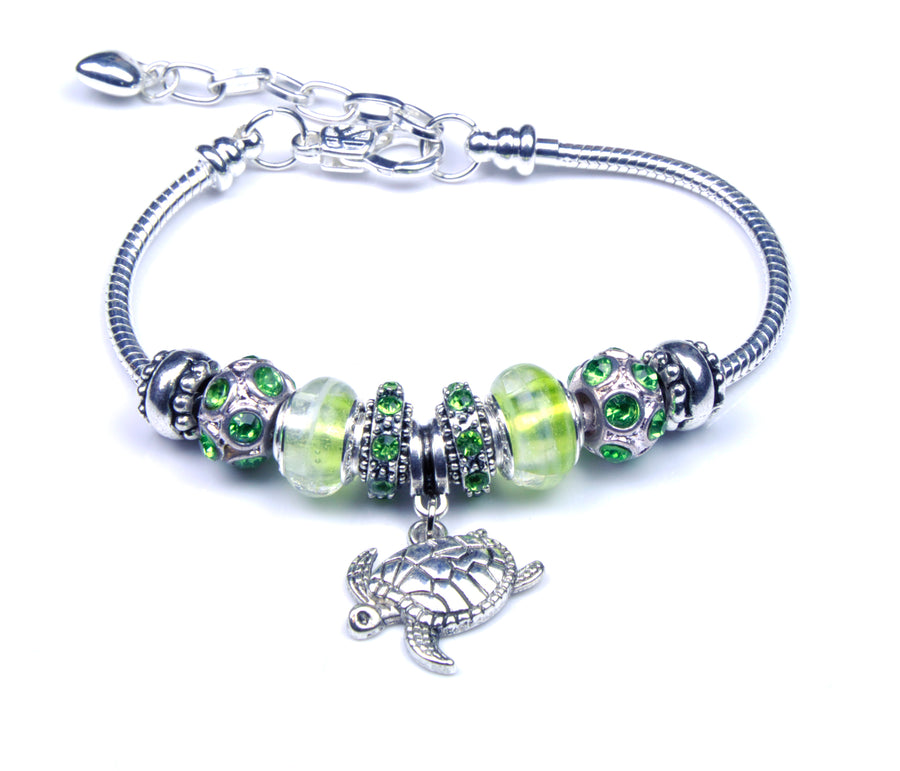 Pandora Style Sterling Silver Murano Glass Charms with European Style Bracelet - Insistent Turtle Light Green