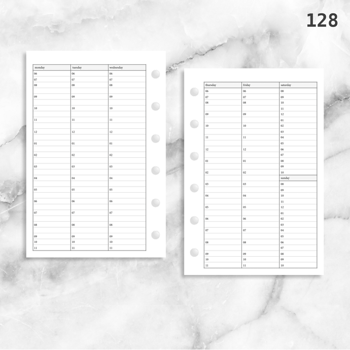 128: Vertical Weekly Timed Schedule Lined Columns Wo2P
