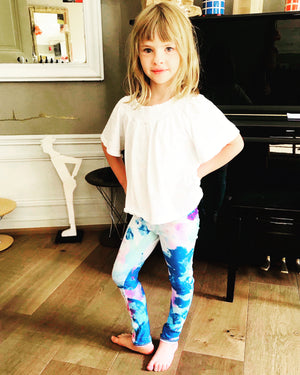 girl leggings colourful blonde activewear aqua blue spandex stretch fabric for 5 years 6 years