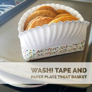 Tutorial for Making a Paper Plate Basket decorated with Washi Tape