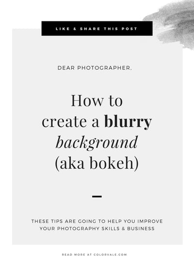 How to create a blurry background (aka bokeh)