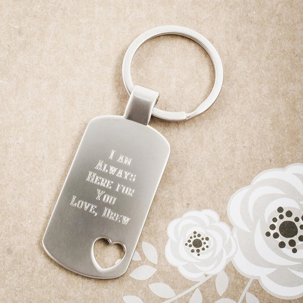 Heart Cut Out Dogtag Keychain - Things Engraved
