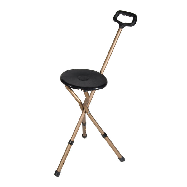 Folding Lightweight Cane Seat, Adjustable Height, Bronze - Discount Homecare & Mobility Products