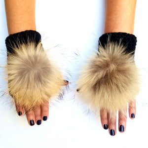 Fingerless Mitten with Fur Pom, - Funky Collective