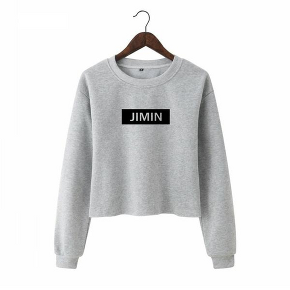 BTS Long Sleeve Crop Top Pullover