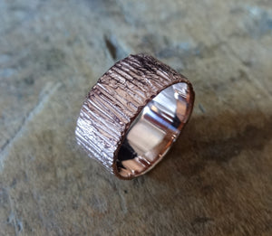 Bold unique bark textured wedding band, Contemporary ring Unisex wedding band, Bark Ring TERNYC texture NYC designer jewelry mens rings bold rings TERMEN 18kt rose gold handmade in NYC recycled metals by model jayne moore designer writer jayne moore