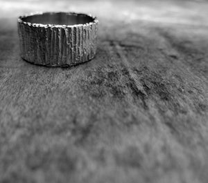 Bold unique bark textured wedding band, Contemporary ring Unisex wedding band, Bark Ring TERNYC textured rings NYC designer jewelry mens rings bold rings TERMEN 18kt gold handmade in NYC recycled metals by model jayne moore designer writer jayne moore