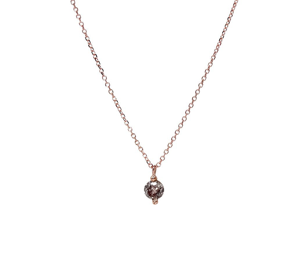salt and pepper single diamond pendant bridesmaid gift