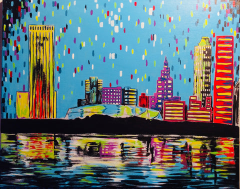 "Fri, Jul 26, 2019, 7-10pm ""Tulsa Skyline"" Public Tulsa OK Paint, Wine, & Canvas Class"