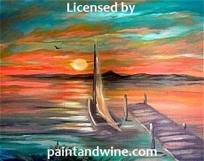 "Fri, Mar 30, 2018, 7-10pm ""Boat Dock Sunset"" Public Tulsa OK Paint, Wine, & Canvas Class"