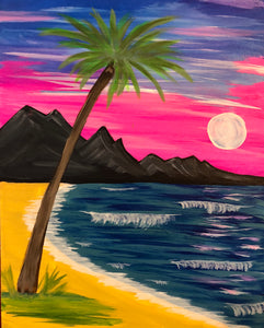 "Fri Jul 12, 2019, 7-10pm ""Palm Beach Sunset"" Public Tulsa OK Paint, Wine, & Canvas Class"