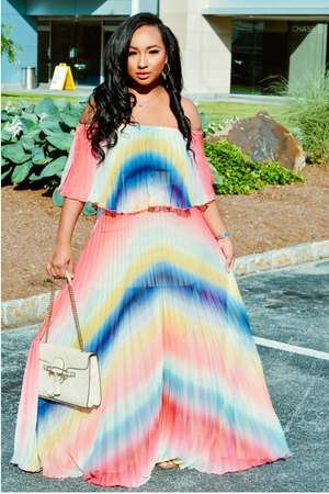 Sweet Lady l Colorful Off The Shoulder  Dress PREORDER - Cutely Covered