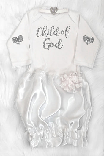 Faith Baby Christian Clothing and Apparel Bible Scripture Baby Gown | Child of God Baptism | Dedication Gown | Christening Gown