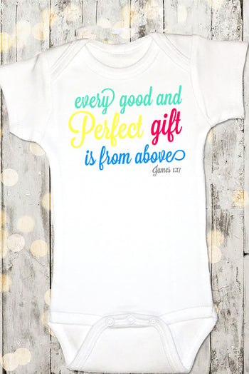 Faith Baby Christian Clothing | Baby Scripture Onesie | Every Good And Perfect Gift Is From Above