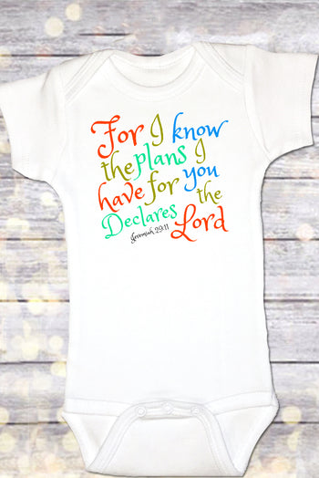 Faith Baby Christian Clothing | Baby Scripture Onesie | For I Know The Plans I Have For You Declares The Lord Baby Girl Onesie