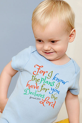 Faith Baby Christian Clothing | Baby Scripture Onesie | For I know the plans I have for you declares the LORD Baby Boy onesie