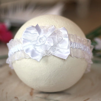 Delightful White Infant Baby Toddler Headband |  FaithBaby.com