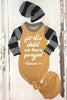 for this child we have prayed - Mustard yellow Newborn Knotted Baby Gown - FaithBaby.com - Christian Newborn Gowns