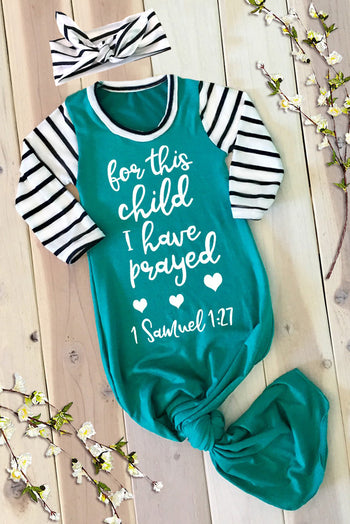 Faith Baby Christian Apparel | Bible Scripture Baby Gown | For This Child I Have Prayed Knotted Baby Gown