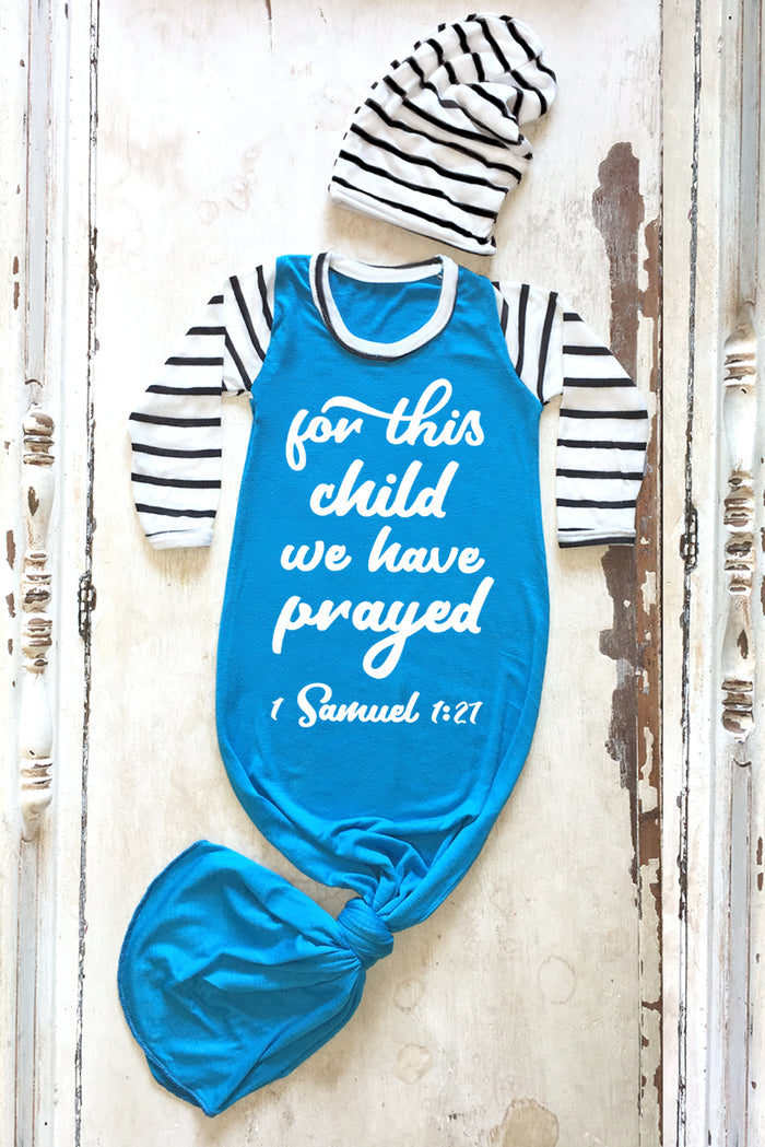 For this child we have prayed newborn christian knotted baby gown | Faith Baby