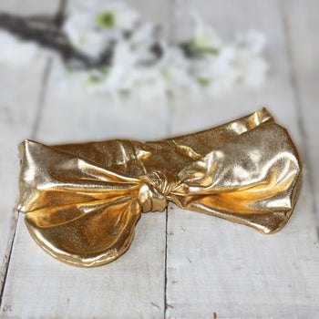 Gleaming Gold Tie Knot Infant Toddler Headband | Faith Baby
