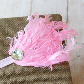 Pink Feather Infant Toddler Headband | FaithBaby.com