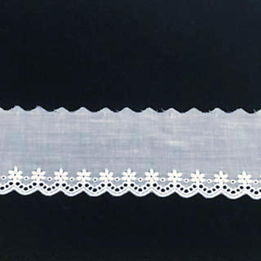 E-612 White - 50mm Embroidered Edging.