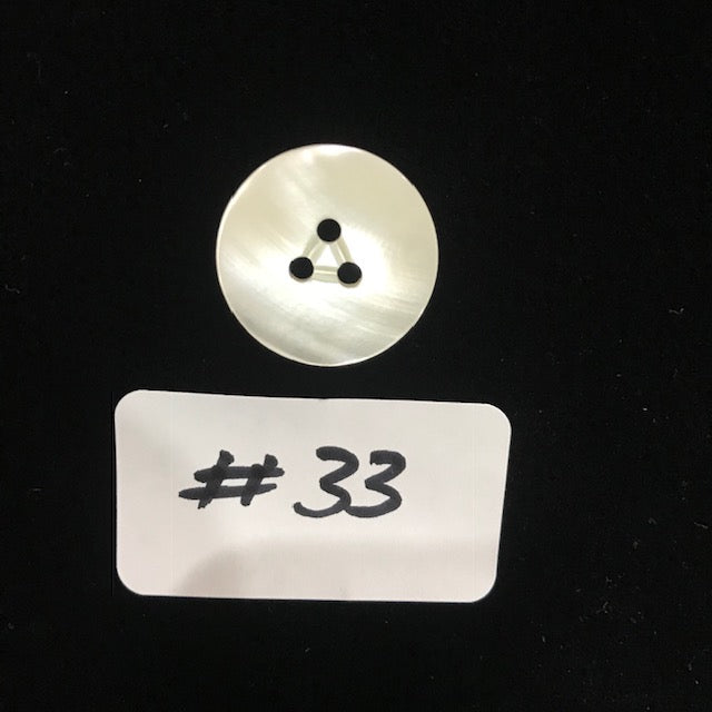 BMOP-33  Mother of Pearl Button - 20mm Flat 3 Hole