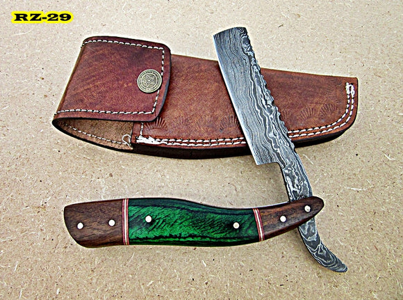 RZ-29, Custom Handmade Damascus Steel Straight Razor - Beautiful Doller Sheath and Rose Wood Handle